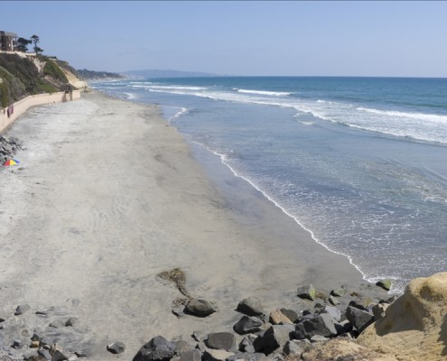 Azure Pacific Waters and Steep Cliffs, Del Mar Shores, San Diego, California