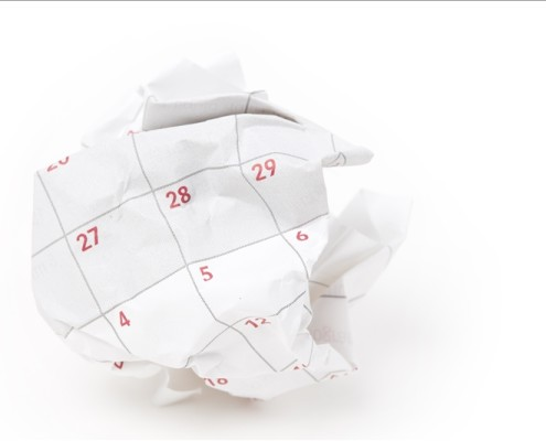 Calendar paper ball, concept of time planning, Wasting Time, Unorganized